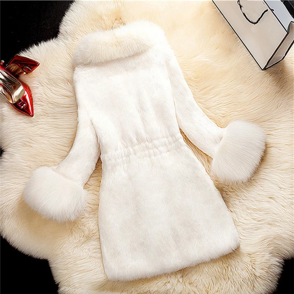Medium Length Fox Fur Collar Coat