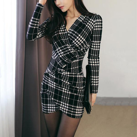 2019 CEA Women's Sexy V-Neck Plaid Mini Bodycon Dress