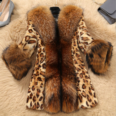 Women's Fashion Splicing Faux fur Leopard Print Midi Overcoat