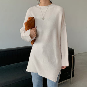 Casual solid color round-neck split sweater