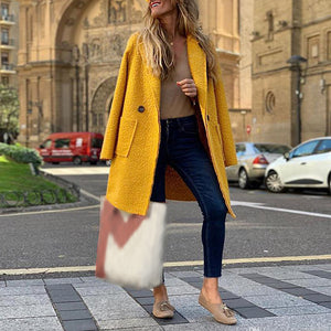 Fashion Brief Yellow Suit Collar Mid-length Coat