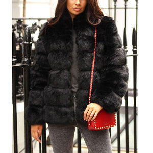Women's thick short cropped fur coat