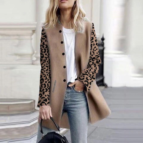 Contrast leopard women's long coat