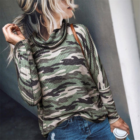 Casual Camouflage High Neck Sweater