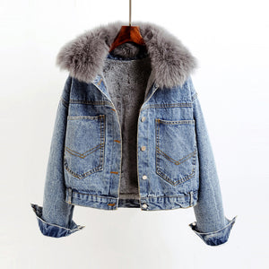 Womens Short Denim Thick Faux Fur Jacket Coats