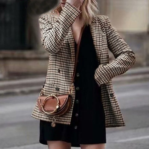 classic plaid suit collar slit pockets long sleeves blazer
