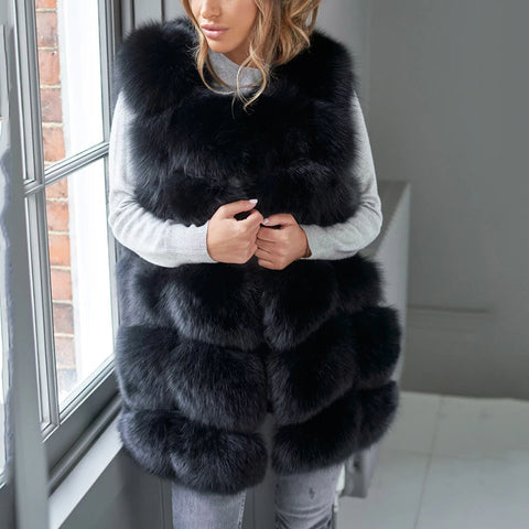 Women's faux fur long coat vest