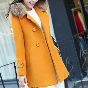 Women's fashion casual double-breasted to fur collar long woolen coat