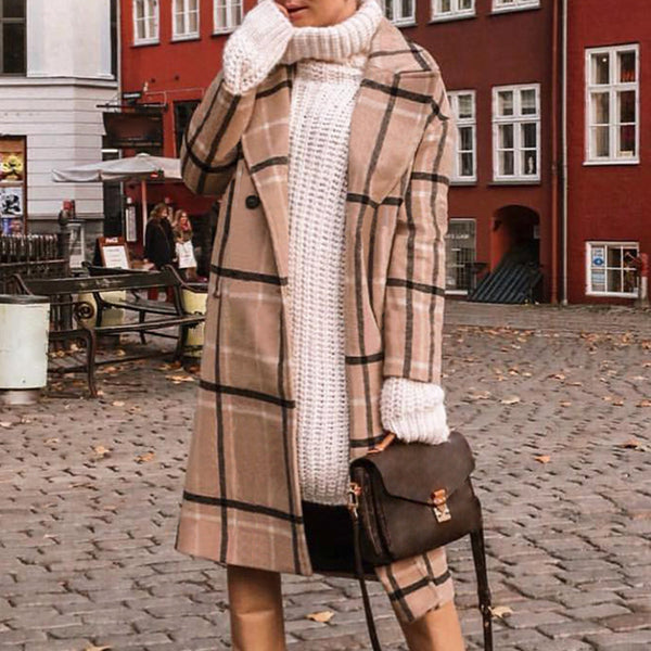 Fashion Loose Long-sleeved Plaid Woolen Coat