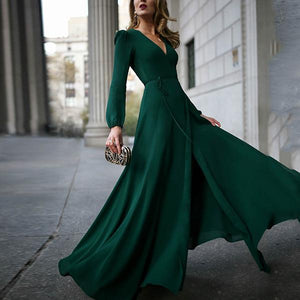 2019 CEA Flash Sale V-neck long-sleeve posed maxi dress