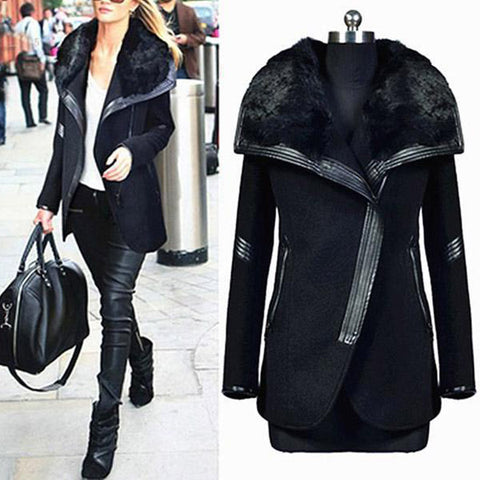 2019 CEA Women's Winter Woolen Coat Warm Big Fur Collar Outwears Zipper Overcoats