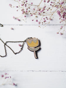 Yellow Flower | wooden pendant