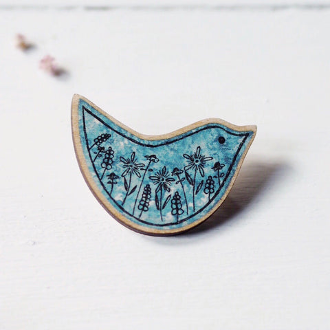 Wildflower Bird | wooden brooch