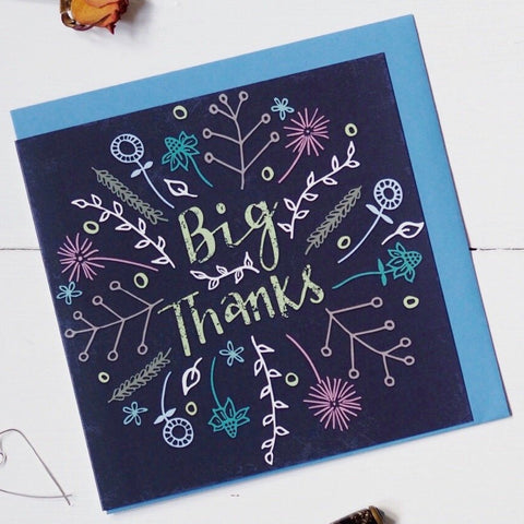 Big Thanks floral greeting card