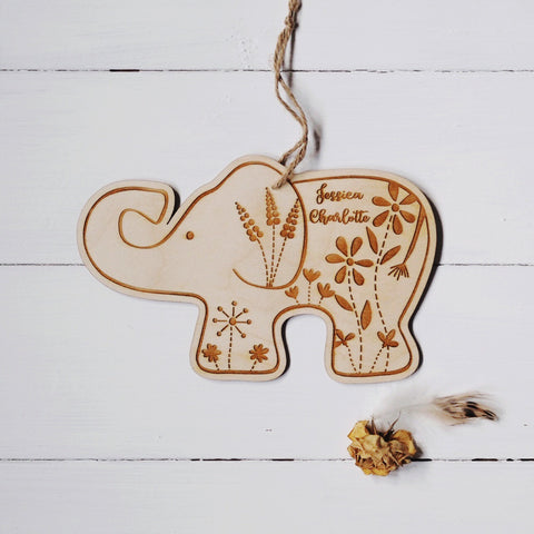 Personalised Flora the botanical elephant plaque