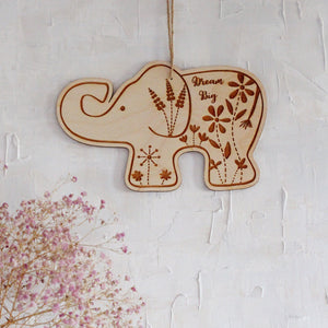 Dream Big - Floral Elephant Plaque