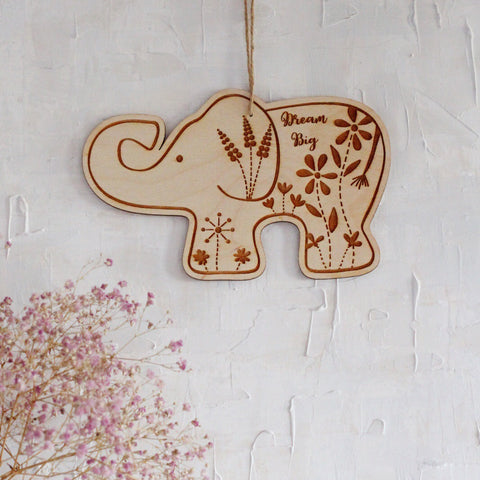 Dream Big botanical elephant plaque