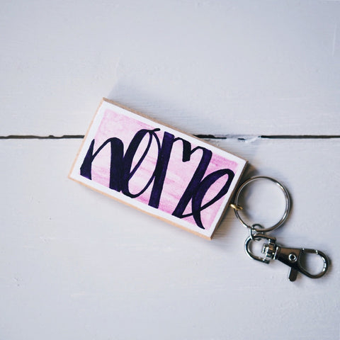 home | purple and pink keyring