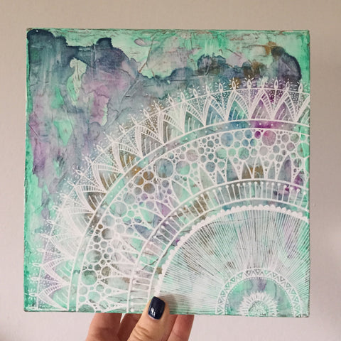doillies | mixed media canvas in white on purples and green