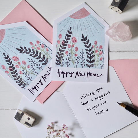 Happy New Home Flower Garden card | greeting card | handmade greeting cards | stationery | snail mail