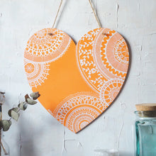 Load image into Gallery viewer, heart | wooden plaque in white on orange