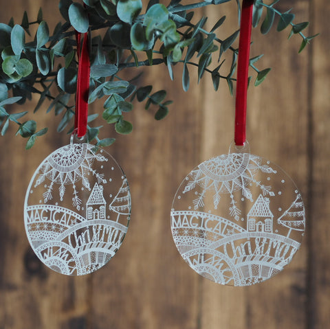 Magical Christmas Wishes etched perspex bauble | tree decoration