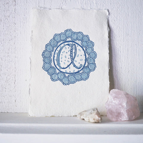 letter A monogram art | original ink drawing in turquoise | affordable art