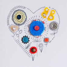 Load image into Gallery viewer, heart garden | collage in yellow, red and blue