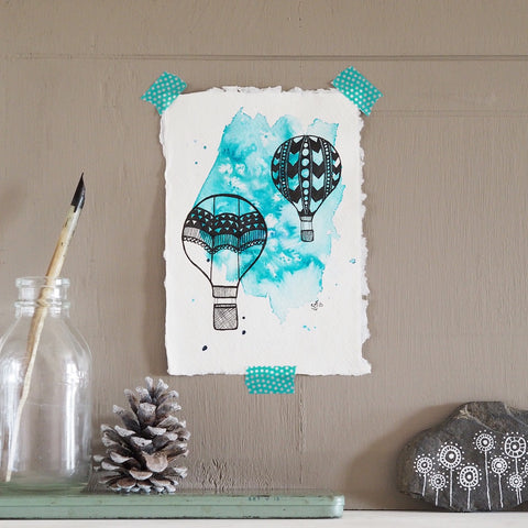 hot air balloons | original artwork in black on aqua