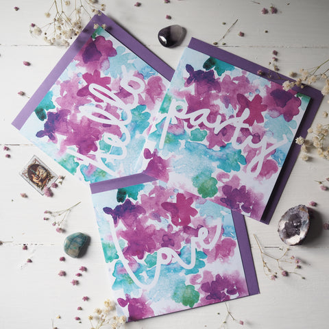 hello love party | greeting cards set of 3 | floral | unique watercolour design | stationery