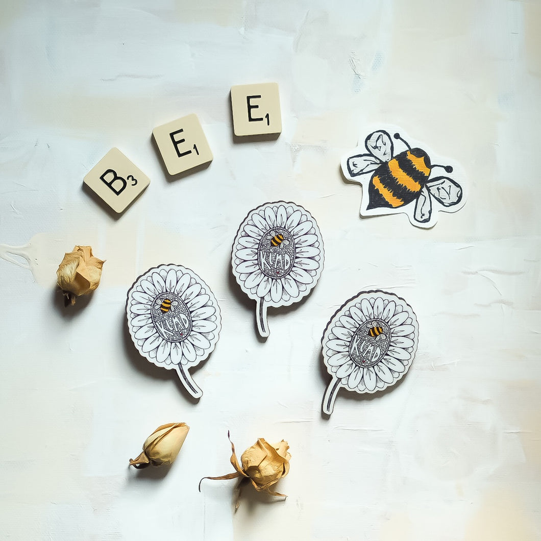 Bee Kind flower | wooden brooch