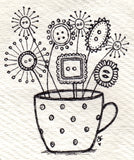 teacup blooms | original black and white ink artwork on handmade paper heart