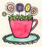 red teacup blooms | original ink and watercolour artwork