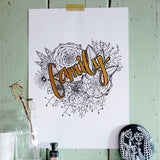 family | hand finished botanical A4 art print with painted lettering made to order