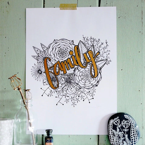 family | hand finished botanical art print with painted lettering made to order