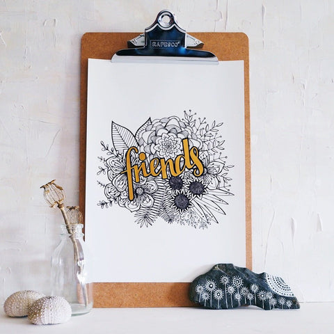 friends | hand finished botanical A4 art print custom colour made to order