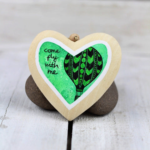 come fly with me | hot air balloon hanging heart gift in green