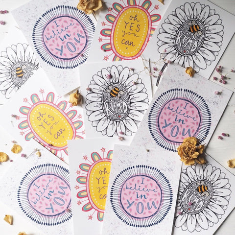 bee kind, I believe in you, oh yes you can | Postcard Set of 3