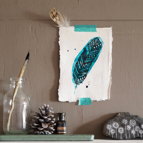 geometric feather | original dip pen and ink art in black on aqua