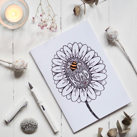 bee kind | A5 | notebooks | sketchbooks | journals | hand made | illustration | sketch | stationery