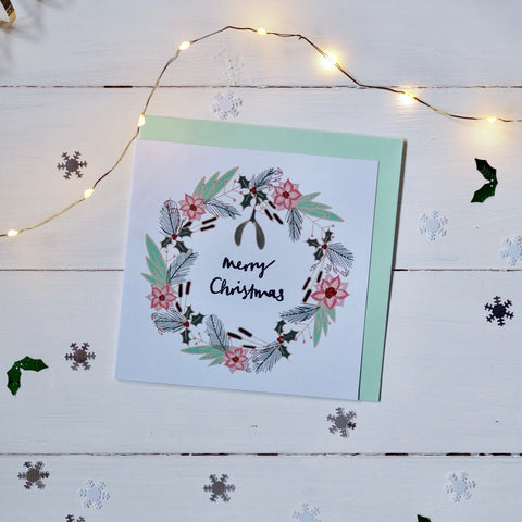 Merry Christmas wreath square Christmas card in an original design