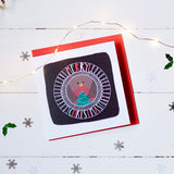 Merry Christmas robin square Christmas card in an original design
