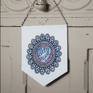 My Lovely Mum - Watercolour Design Mini Pennant and Card Set