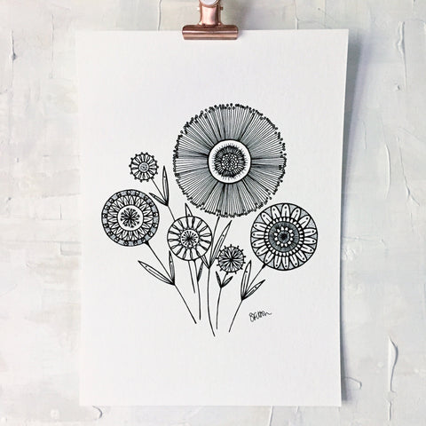 scattered flower posy | A4 or A5 art print