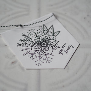 You are lovely - Floral Design Mini Pennant and Card Set