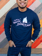 Load image into Gallery viewer, Walking in a Winter Disneyland Navy Adult Long Sleeve