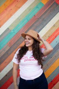 Walking in a Winter Disneyland Pink Adult Tee