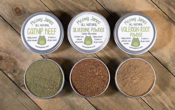 Catnip Alternative Variety Powder Pack- Catnip Keef, Silvervine Powder and Valerian Root Powder - Meowy Janes