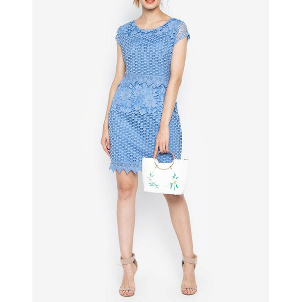 Krizia Guipure Lace Popover Dress