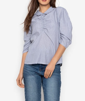 Collared Ruched Sleeve Blouse